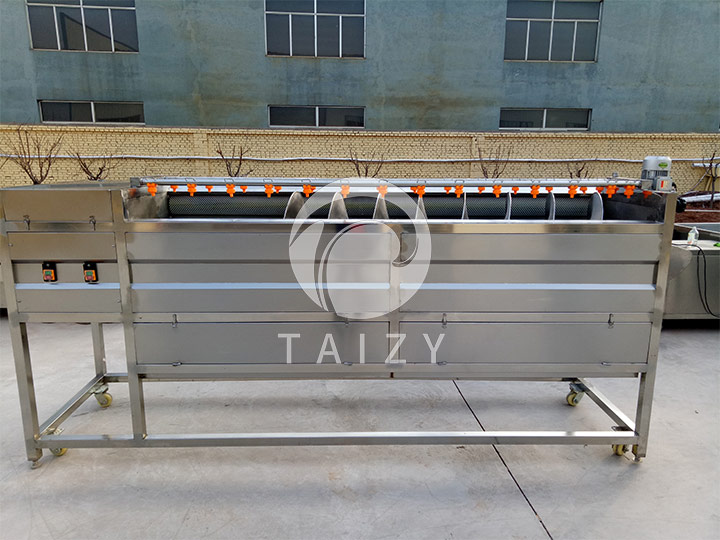 automatic discharge potato washing and peeling machine