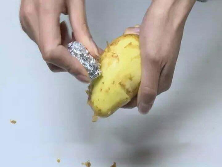 foil to peel potatoes